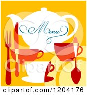 Clipart Of A Menu Cover Design With Silverware And Cups Royalty Free Vector Illustration