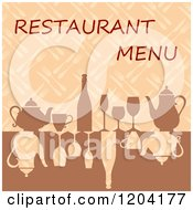 Clipart Of A Restaurant Menu Cover Design With Glasses Wine And Teapots Royalty Free Vector Illustration