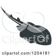Clipart Of A Swimming Stingray Fish 4 Royalty Free Vector Illustration by Vector Tradition SM