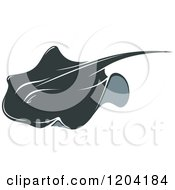 Clipart Of A Swimming Stingray Fish Royalty Free Vector Illustration by Vector Tradition SM