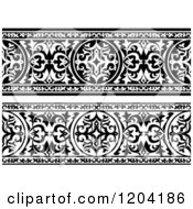 Clipart Of Black And White Ornate Arabian Borders 2 Royalty Free Vector Illustration