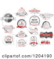 Clipart Of Red Black And White Vintage Quality Guarantee Labels Royalty Free Vector Illustration