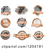 Clipart Of Orange Black And White Vintage Quality Guarantee Labels Royalty Free Vector Illustration