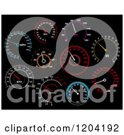 Clipart Of Illuminated Speedometers On Black Royalty Free Vector Illustration