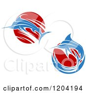 Clipart Of Leaping Marlin Fish And Waves 2 Royalty Free Vector Illustration