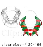 Clipart Of Green And Black And White Leaf And Ribbon Wreath Coat Of Arms Royalty Free Vector Illustration