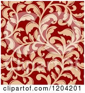 Clipart Of A Seamless Red And Tan Floral Pattern Royalty Free Vector Illustration