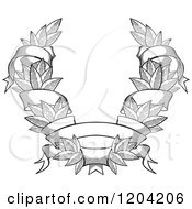 Clipart Of A Grayscale Leaf And Ribbon Wreath Coat Of Arms 3 Royalty Free Vector Illustration