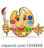 Happy Art Palette Mascot With Paints And A Brush