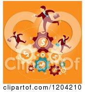 Businessmen Running On Dollar Gears Over Orange