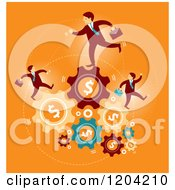 Cartoon Of Businessmen Running On Dollar Gears Over Orange Royalty Free Vector Clipart