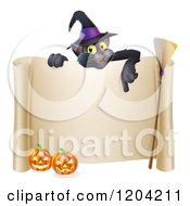 Cartoon Of A Black Cat Wearing A Witch Hat And Pointing Down At A Halloween Sign With Pumpkins And A Broomstick Royalty Free Vector Clipart