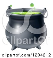 Cartoon Of A Witch Cauldron With Bubbly Green Brew Royalty Free Vector Clipart by AtStockIllustration