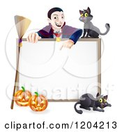 Cartoon Of A Vampire Pointing Down At A Halloween Sign With A Broomstick Black Cats And Pumpkins Royalty Free Vector Clipart by AtStockIllustration