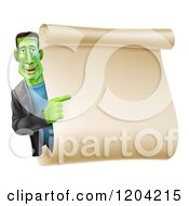 Cartoon Of A Happy Frankenstein Pointing To A Blank Scroll Sign Or Invitation Royalty Free Vector Clipart by AtStockIllustration