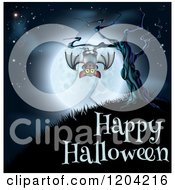Cartoon Of A Vampire Bat Hanging From A Spooky Tree Against A Full Moon Over Happy Halloween Text Royalty Free Vector Clipart by AtStockIllustration