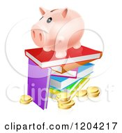 Cartoon Of A Happy Piggy Bank On A Stack Of Books Over Coins Royalty Free Vector Clipart
