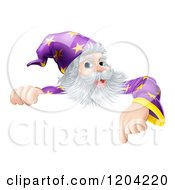 Cartoon Of A Happy Gray Bearded Wizard Pointing Down At A Sign Royalty Free Vector Clipart