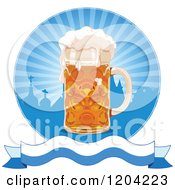 Cartoon Of An Oktoberfest Beer Mug Over Silhouetted Roof Tops Rays And A Banner Royalty Free Vector Clipart
