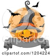 Cartoon Of A Halloween Jackolantern Pumpkin With A Witch Hat Banner And Bats Over A Full Moon Royalty Free Vector Clipart
