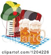Cartoon Of An Oktoberfest German Hat On An Accordion With Beer Mugs Royalty Free Vector Clipart