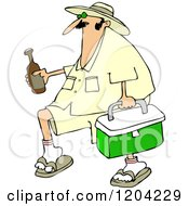 Cartoon Of A Panama Joe Man Carrying A Cooler And Beer Royalty Free Vector Clipart