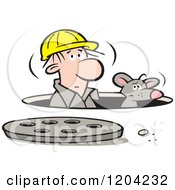 Cartoon Of A Construction Worker And Mouse In A Manhole Royalty Free Vector Clipart