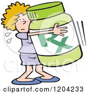 Cartoon Of A Woman Hugging A Prescription Bottle Royalty Free Vector Clipart by Johnny Sajem