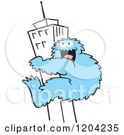 Cartoon Of A Blue Bigfoot Climbing A Skyscraper Building Royalty Free Vector Clipart by Johnny Sajem