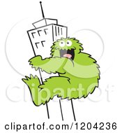 Cartoon Of A Green Bigfoot Climbing A Skyscraper Building Royalty Free Vector Clipart by Johnny Sajem