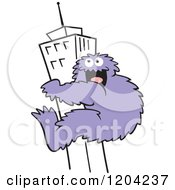 Cartoon Of A Purple Bigfoot Climbing A Skyscraper Building Royalty Free Vector Clipart by Johnny Sajem