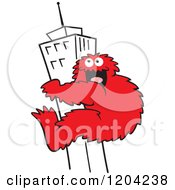 Cartoon Of A Red Bigfoot Climbing A Skyscraper Building Royalty Free Vector Clipart by Johnny Sajem