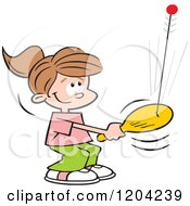 Cartoon Of Girl Playing With A Bolo Bat Royalty Free Vector Clipart by Johnny Sajem