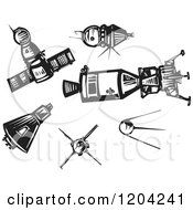 Clipart Of Spaceships And Satellites Black And White Woodcut Royalty Free Vector Illustration by xunantunich