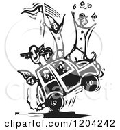 Clipart Of A Circus Clown Car Black And White Woodcut Royalty Free Vector Illustration by xunantunich