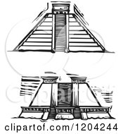 Two Mayan Pyramid Views Black And White Woodcut
