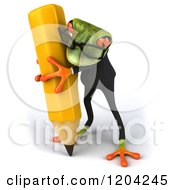 Clipart Of A 3d Formal Springer Frog Wearing Glasses And Writing With A Giant Pencil Royalty Free CGI Illustration