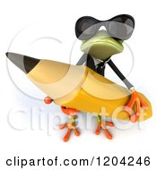 Clipart Of A 3d Formal Springer Frog Wearing Sunglasses And Holding A Giant Pencil Royalty Free CGI Illustration
