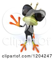 Clipart Of A 3d Formal Springer Frog Prince Wearing Sunglasses And Waving Royalty Free CGI Illustration
