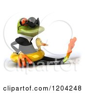 Clipart Of A 3d Formal Springer Frog Wearing Sunglasses And Sitting In A Duck Inner Tube Royalty Free CGI Illustration