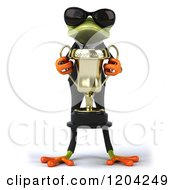 Clipart Of A 3d Formal Springer Frog Wearing Sunglasses And Holding A Trophy Royalty Free CGI Illustration