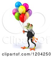 Clipart Of A 3d Formal Springer Frog Walking With Party Balloons Royalty Free CGI Illustration