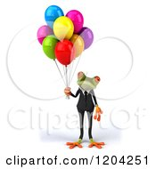 Clipart Of A 3d Formal Springer Frog Standing With Party Balloons Royalty Free CGI Illustration