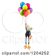 Clipart Of A 3d Formal Springer Frog Floating With Party Balloons Royalty Free CGI Illustration by Julos