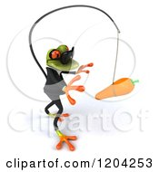 Clipart Of A 3d Formal Springer Frog Wearing Sunglasses And Chasing A Carrot On A Stick Royalty Free CGI Illustration