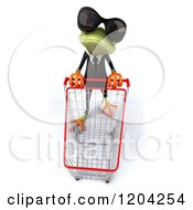 Clipart Of A 3d Formal Springer Frog Wearing Sunglasses And Pushing A Shopping Cart Royalty Free CGI Illustration