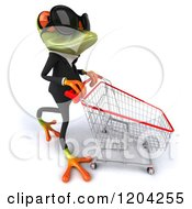 Clipart Of A 3d Formal Springer Frog Wearing Sunglasses And Pushing A Shopping Cart 2 Royalty Free CGI Illustration