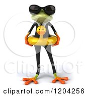 Clipart Of A 3d Formal Springer Frog Wearing Sunglasses And Wearing A Duck Inner Tube Royalty Free CGI Illustration by Julos