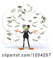 3d Formal Springer Frog Wearing Sunglasses And Standing In Falling Cash