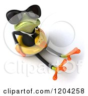 Clipart Of A 3d Formal Springer Frog Wearing Sunglasses And Sitting In A Duck Inner Tube 2 Royalty Free CGI Illustration